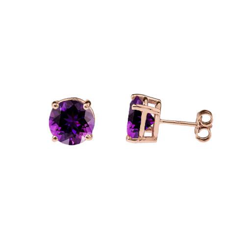 10K Rose Gold February Birthstone Amethyst (LCAM) Earrings