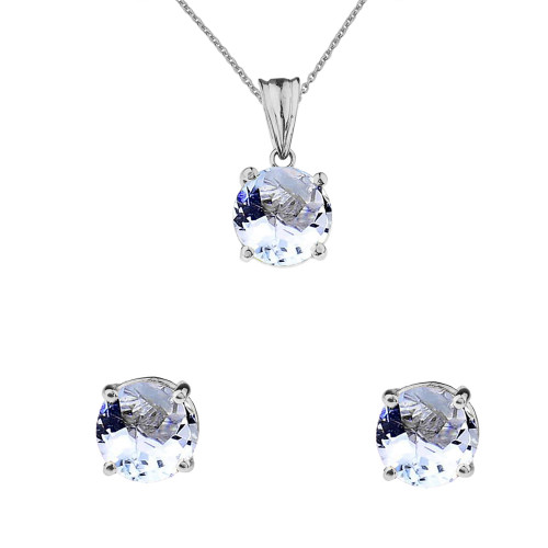 10K White Gold March Birthstone Aquamarine (LCAQ) Pendant Necklace & Earring Set