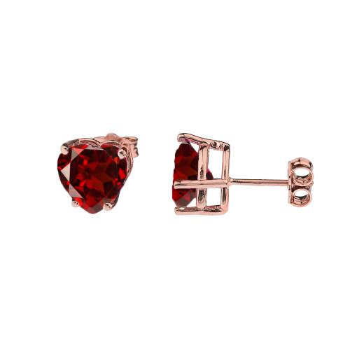 10K Rose Gold Heart January Birthstone Garnet (LCG) Earrings