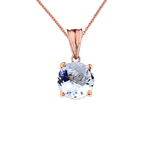 10K Rose  Gold March  Birthstone  Aquamarine (LCAQ) Pendant Necklace