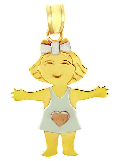 Yellow Gold Heart Girl Tri Tone Charm
