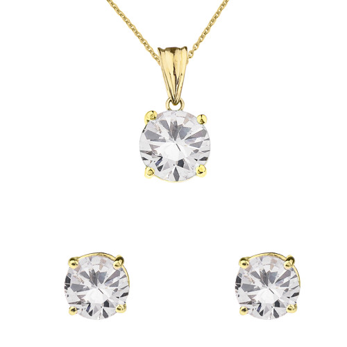 10K Yellow Gold April Birthstone Cubic Zirconia Pendant Necklace & Earring Set