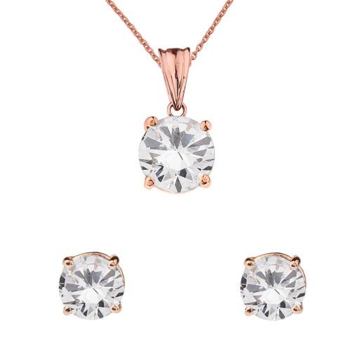 10K  Rose Gold April Birthstone Cubic Zirconia Pendant Necklace & Earring Set