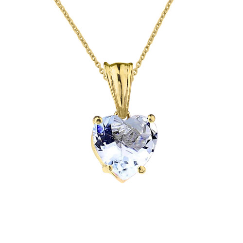 10K Yellow Gold Heart March Birthstone Aquamarine (LCAQ) Pendant Necklace