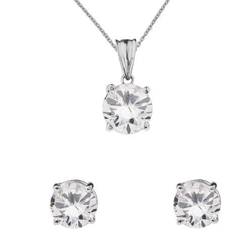 10K  White  Gold April Birthstone Cubic Zirconia Pendant Necklace & Earring Set