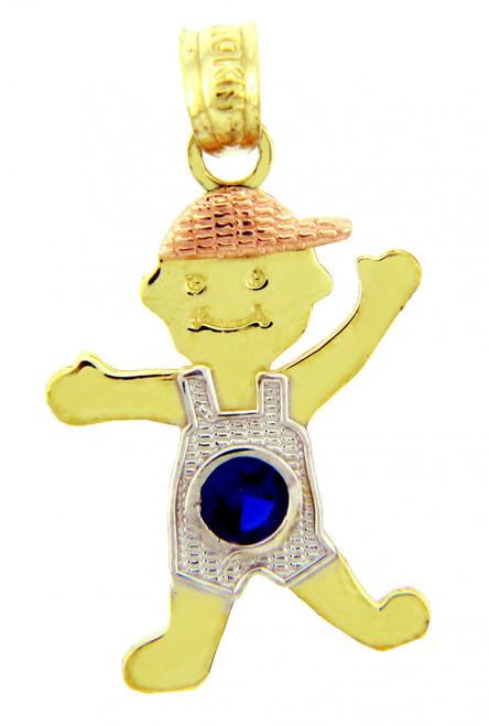 Boy Tri Tone Gold  Birthstone Charm w/  Blue CZ  Sapphire