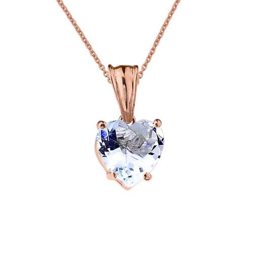 10K Rose Gold Heart March Birthstone Aquamarine (LCAQ) Pendant Necklace