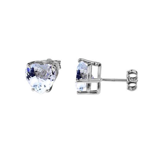 10K White Gold Heart March Birthstone Aquamarine (LCAQ) Earrings