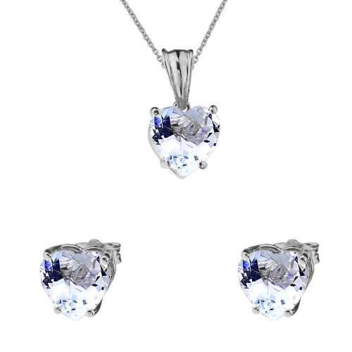 10K White Gold Heart March Birthstone Aquamarine (LCAQ) Pendant Necklace & Earring Set