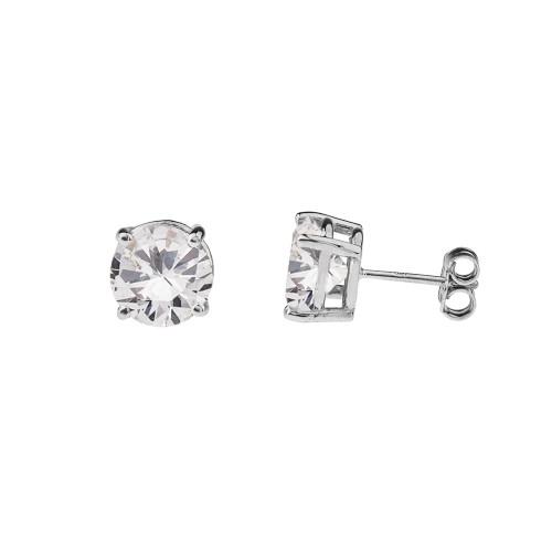 10K White Gold  April Birthstone Cubic Zirconia  (CZ) Earrings