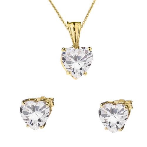 10K Yellow Gold Heart April Birthstone Cubic Zirconia (C.Z) Pendant Necklace & Earring Set