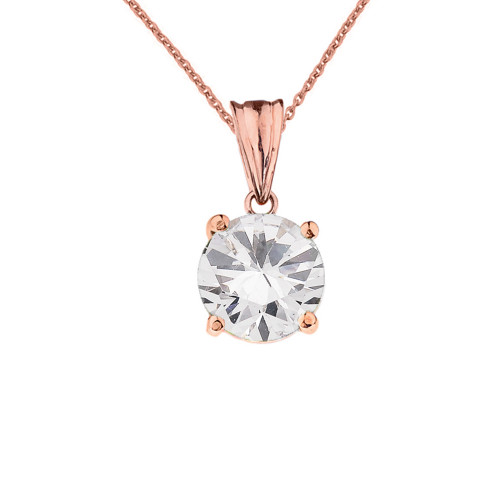 10K Rose Gold April  Birthstone Cubic Zirconia (CZ) Pendant Necklace