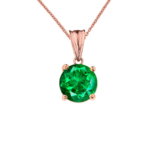 10K Rose  Gold May Birthstone Emerald (LCE)  Pendant Necklace