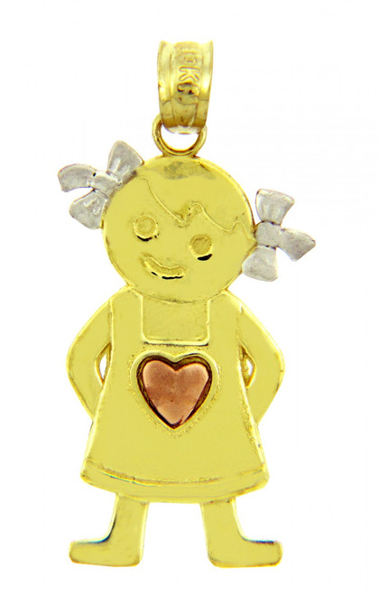 Tri Tone Gold Pinafore Heart Girl Charm