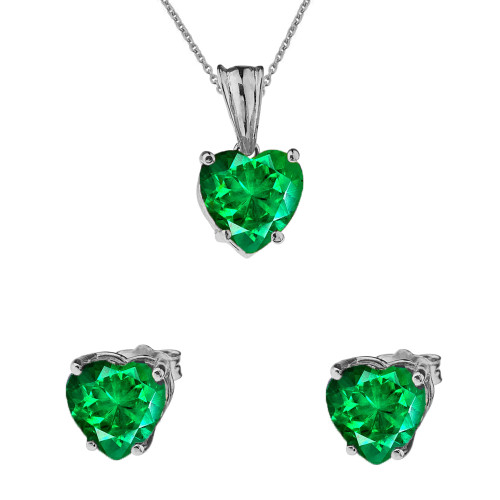 10K White Gold Heart May Birthstone Emerald  (LCE) Pendant Necklace & Earring Set