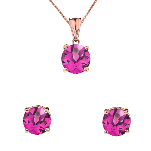 10K Rose Gold June Birthstone Alexandrite(LCAL) Pendant Necklace & Earring Set
