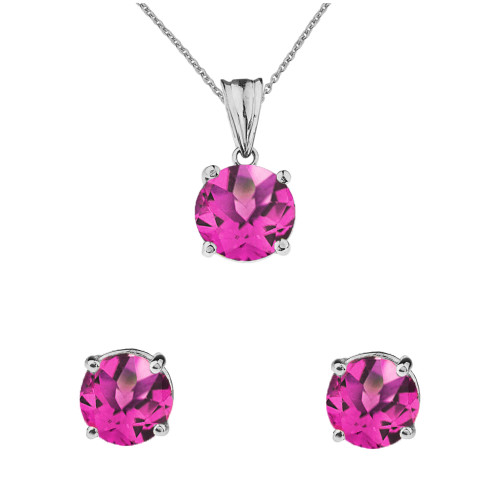 10K White  Gold June Birthstone Alexandrite (LCAL) Pendant Necklace & Earring Set