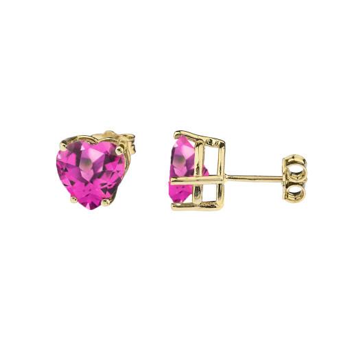 10K Yellow Gold Heart June Birthstone Alexandrite (LCAL) Earrings