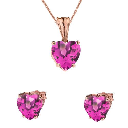 10K Rose Gold Heart June Birthstone Alexandrite (LCAL) Pendant Necklace & Earring Set
