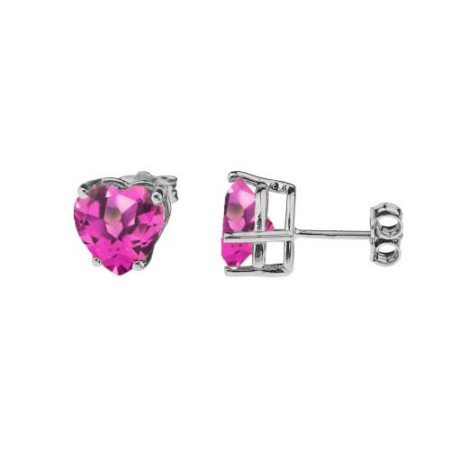 10K White Gold Heart June Birthstone Alexandrite (LCAL) Earrings