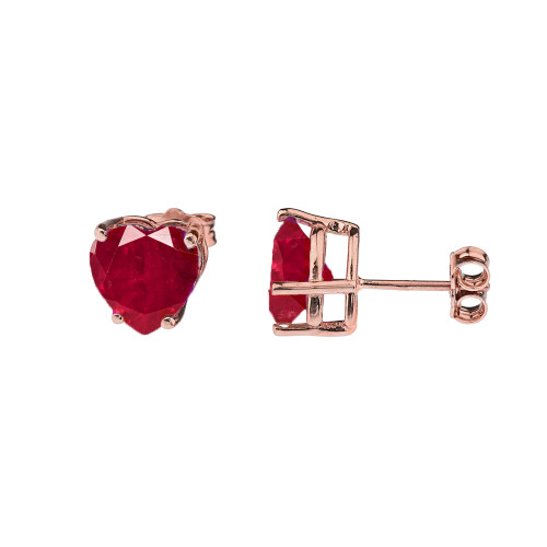 10K Rose Gold Heart July Birthstone Ruby (LCR) Earrings