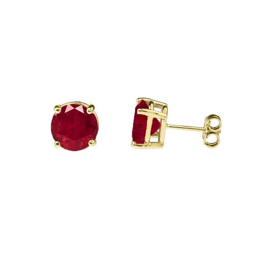 10K Yellow Gold July Birthstone Ruby (LCR)Earrings