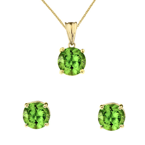 10K Yellow Gold  August Birthstone Peridot (LCP) Pendant Necklace & Earring Set