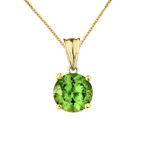 10K Yellow Gold  August Birthstone Peridot (LCP)  Pendant Necklace