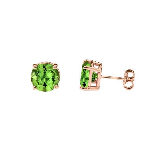 10K Rose Gold  August Birthstone Peridot (LCP)Earrings