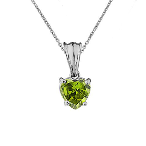 10K White Gold Heart  August Birthstone Peridot (LCP) Pendant Necklace