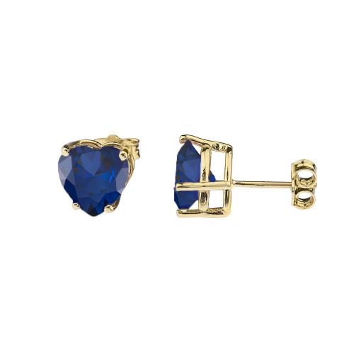 10K Yellow Gold Heart September Birthstone Sapphire (LCS) Earrings