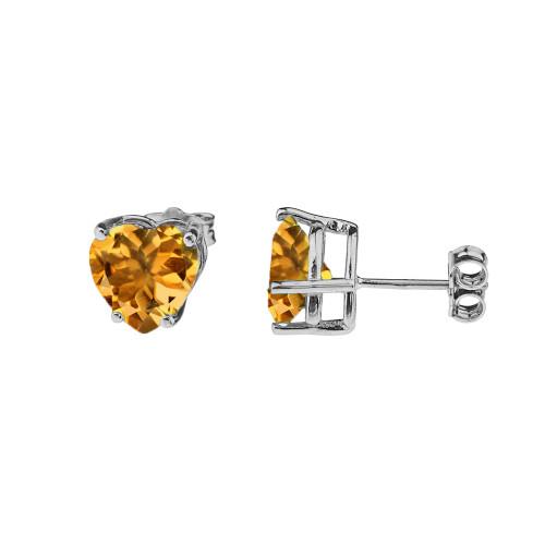 10K White Gold Heart November Birthstone Citrine (LCC) Earrings