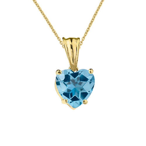 10K Yellow Gold Heart December Birthstone Blue Topaz (LCBT) Pendant Necklace