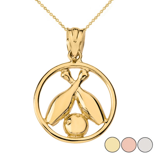 Circle Bowling Pendant Necklace in Solid Gold (Yellow/Rose/White)