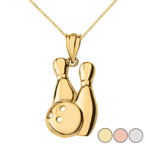 Bowling Pendant Necklace in Solid Gold (Yellow/Rose/White)