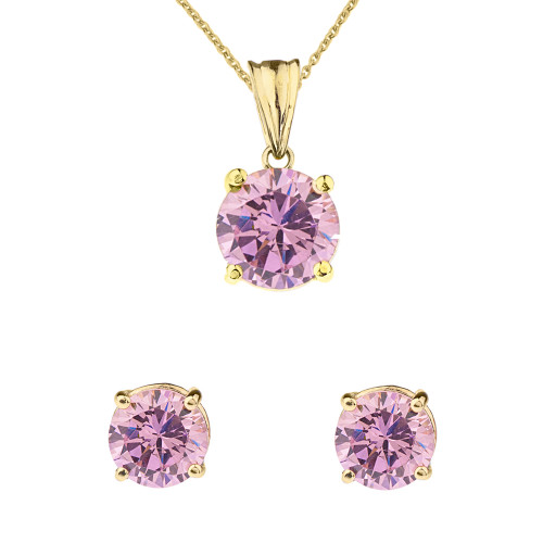 10K Yellow Gold  October Birthstone Pink Cubic Zirconia  (LCPZ)Pendant Necklace & Earring Set