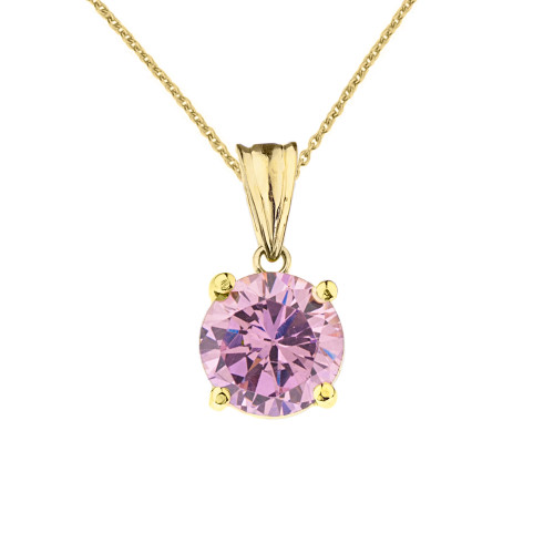 10K Yellow Gold  October Birthstone Pink Cubic Zirconia  (LCPZ)  Pendant Necklace