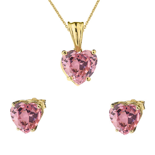 10K Yellow Gold Heart October Birthstone Pink Cubic Zirconia  (LCPZ) Pendant Necklace & Earring Set