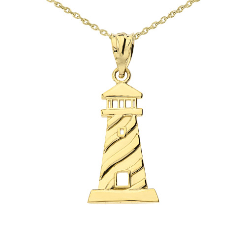 Yellow Gold Lighthouse Pendant Necklace