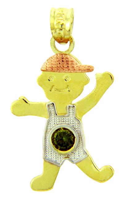 Tri Tone Gold Boy Birthstone Charm w/ CZ Dark Emerald Green