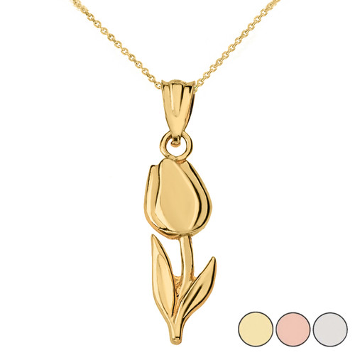 Diamond Cut Tulip Pendant Necklace  in Solid Gold (Yellow/Rose/White)