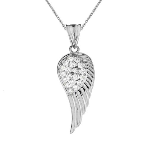 Elegant Sterling Silver CZ  Angel Wing  Pendant Necklace