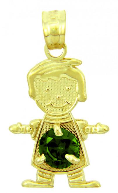 CZ Purple Stone Yellow Gold Birthstone Charm