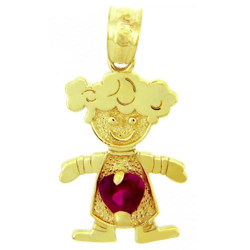 CZ Red Heart Girl Yellow Gold Birthstone Charm