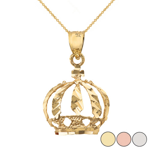 Diamond Cut Christian Royal Crown Pendant Necklace in Solid Gold (Yellow/Rose/White)