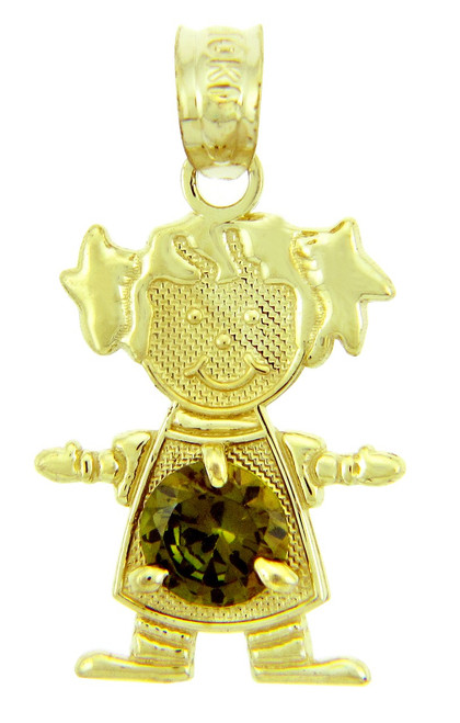 CZ Dark Emerald Green Girl Yellow Gold Birthstone Charm