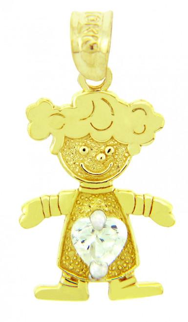 CZ Crystal Clear Heart Girl Yellow Gold Birthstone Charm