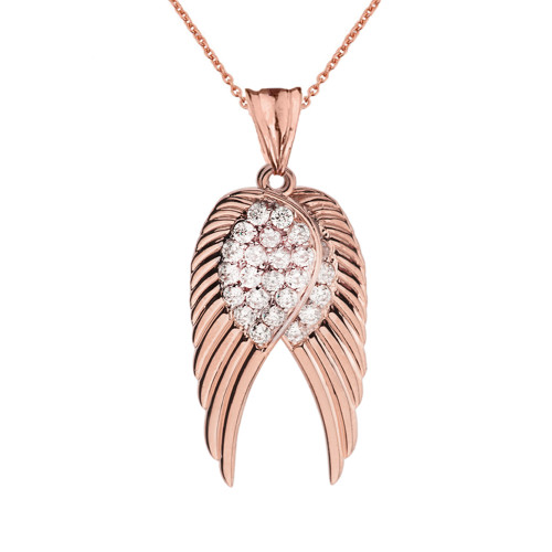 Two Elegant Rose Gold Diamond  Angel Wings  Pendant Necklace