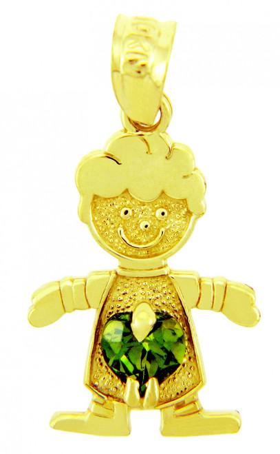 Boy CZ Dark Emerald Green Heart Birthstone Charm