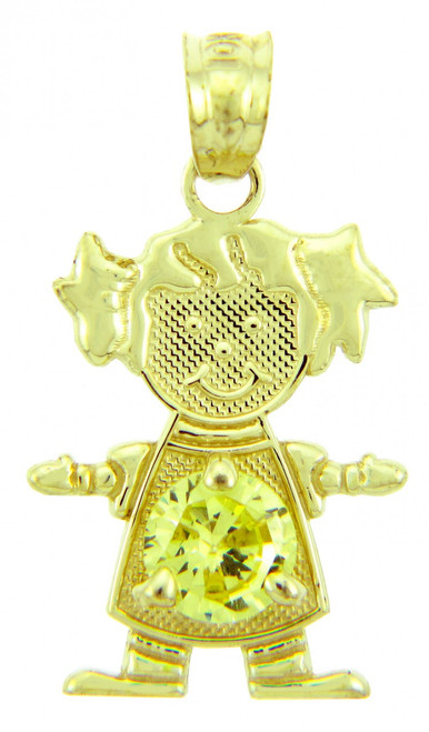 Baby Girl CZ Yellow Topaz Gold Birthstone Charm